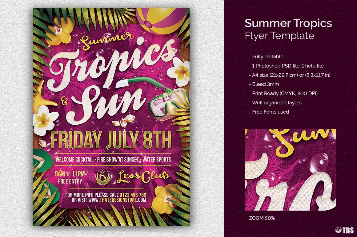 Summer Tropics Flyer Template example image 1