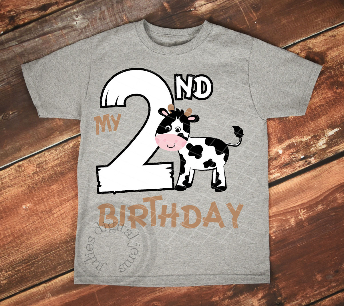 Farm Birthday Cow 2nd SVG Example Image 2