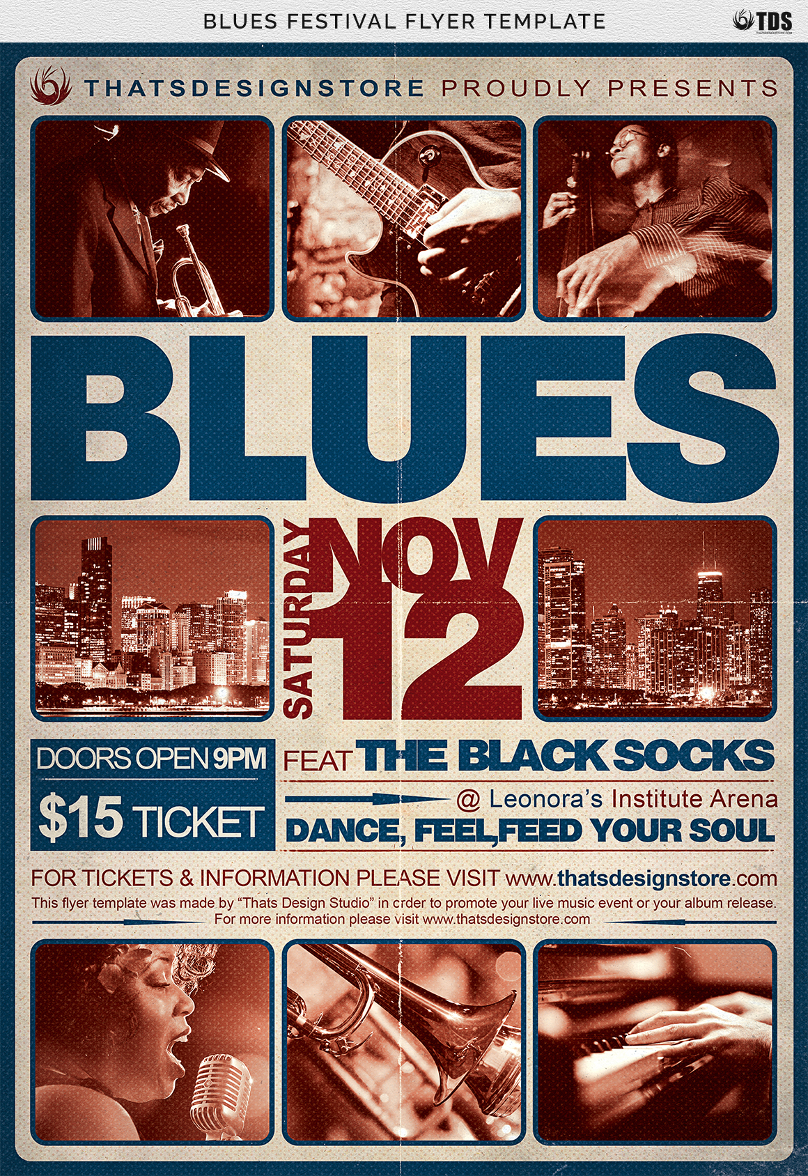Blues Festival Flyer Template V2 example image 8