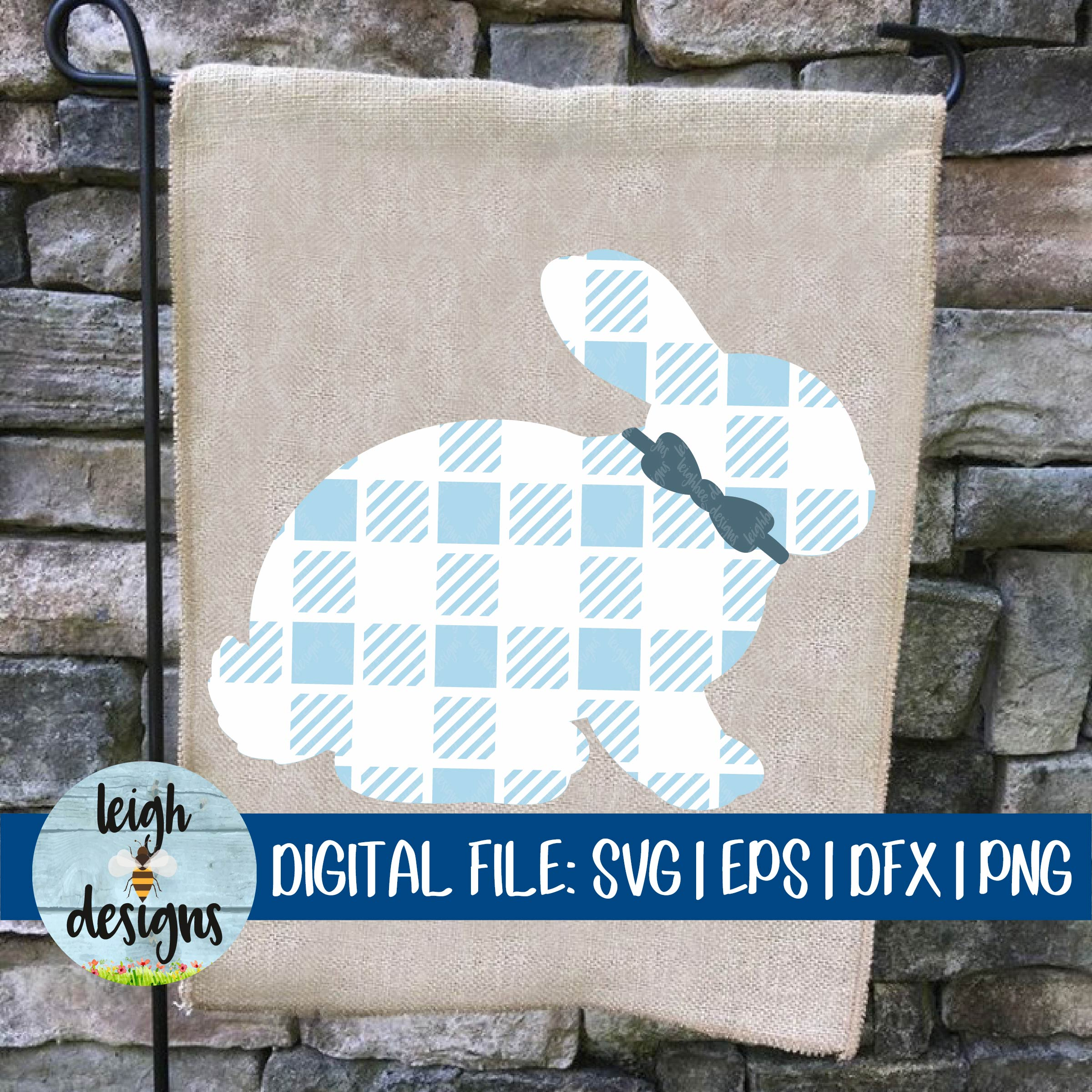 Buffalo Plaid Bunny with Bowtie SVG EPS DFX PNG Cut File example image 4