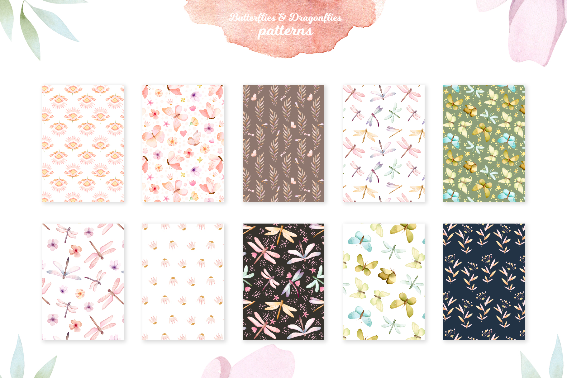 Butterflies and Dragonflies Patterns Collection example image 3