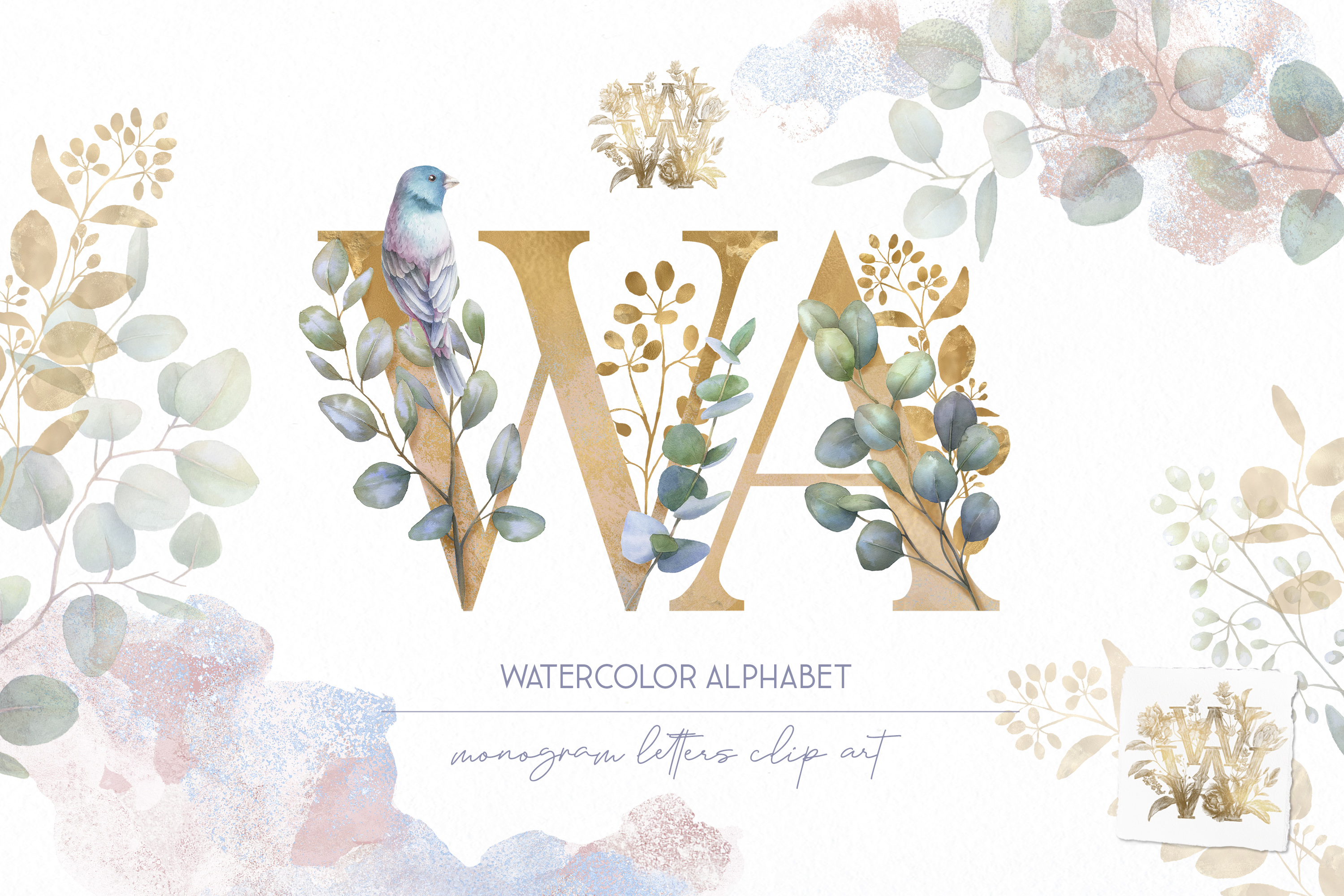 Eucalyptus alphabet Watercolor clipart, gold floral letters example image 1