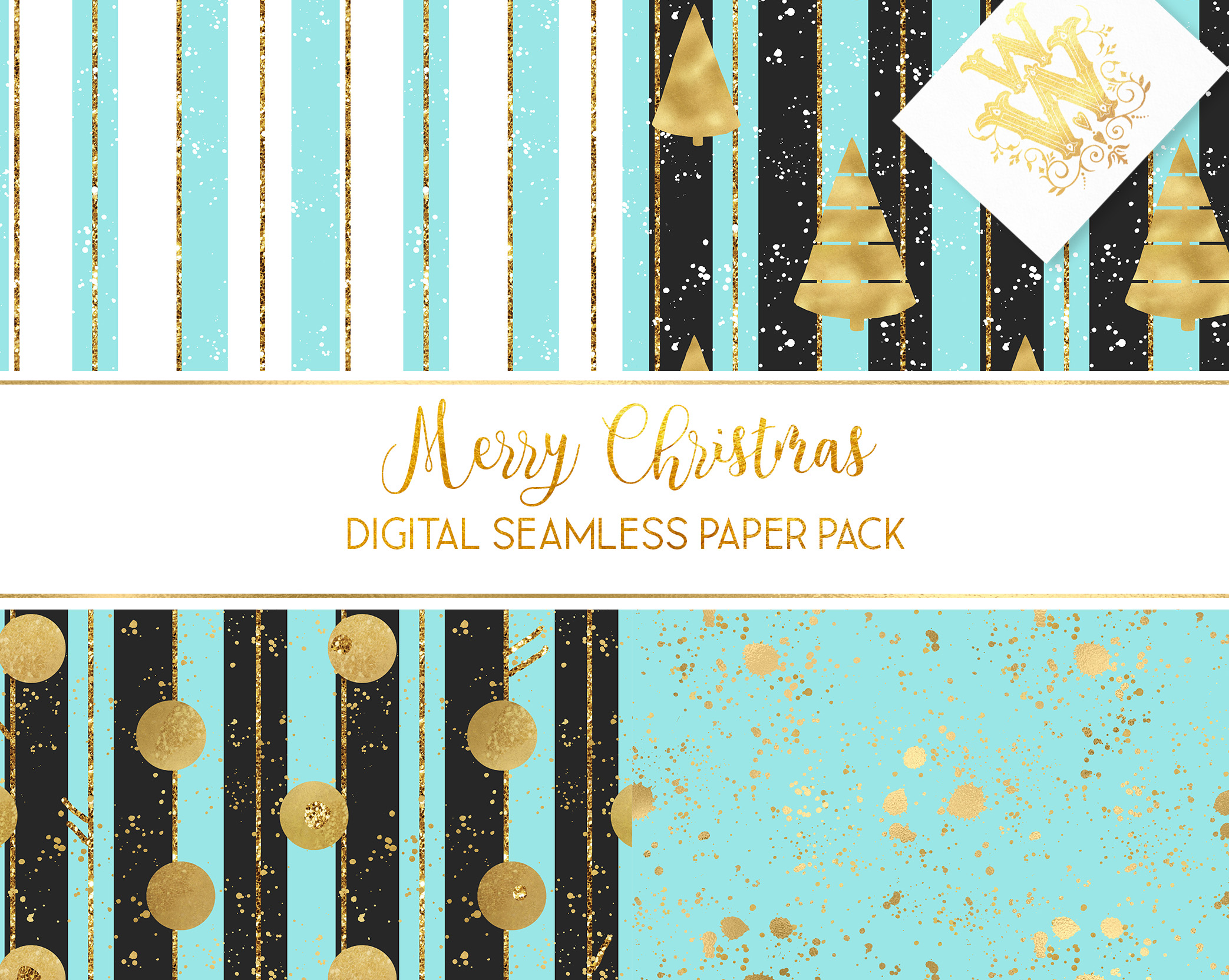Christmas digital paper pack, seamless pattern snowflake example image 6