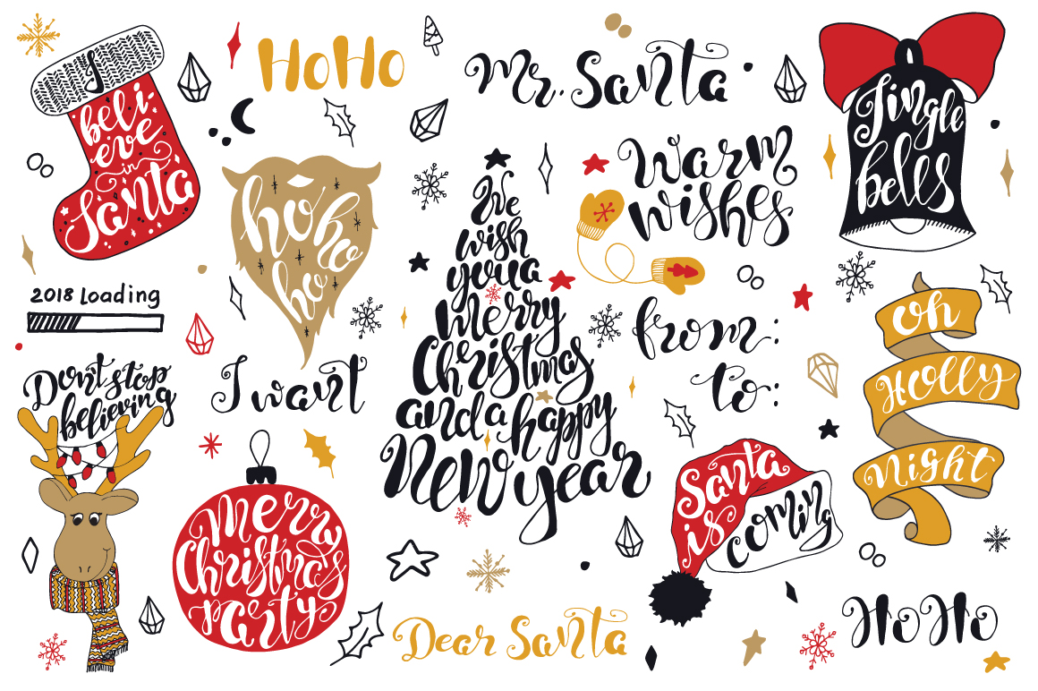 Merry Christmas quotes Lettering set example image 3