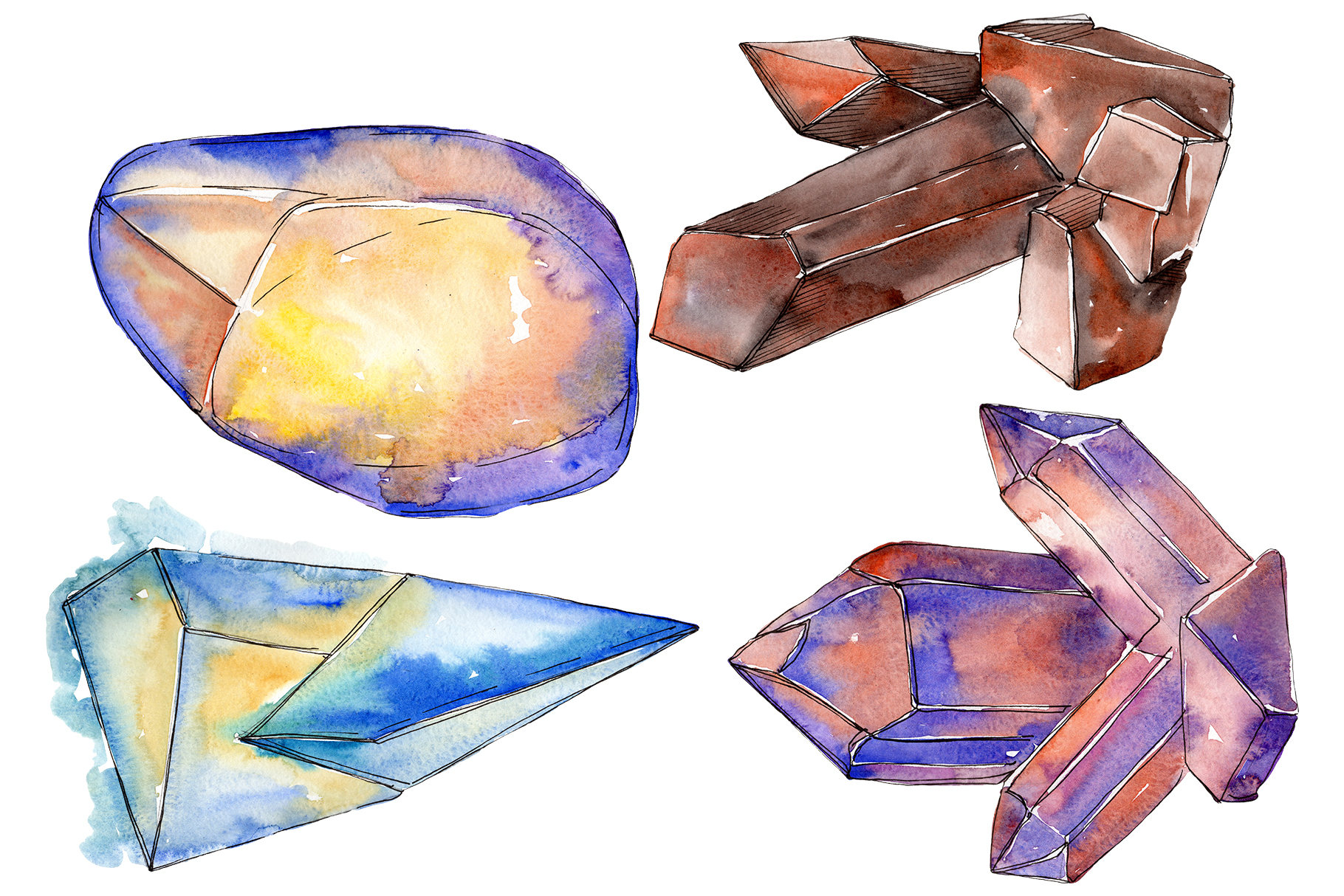 Crystals are many-sided Watercolor png example image 1