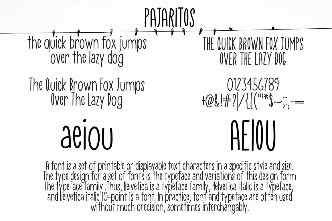 Pajaritos Skinny Font example image 2