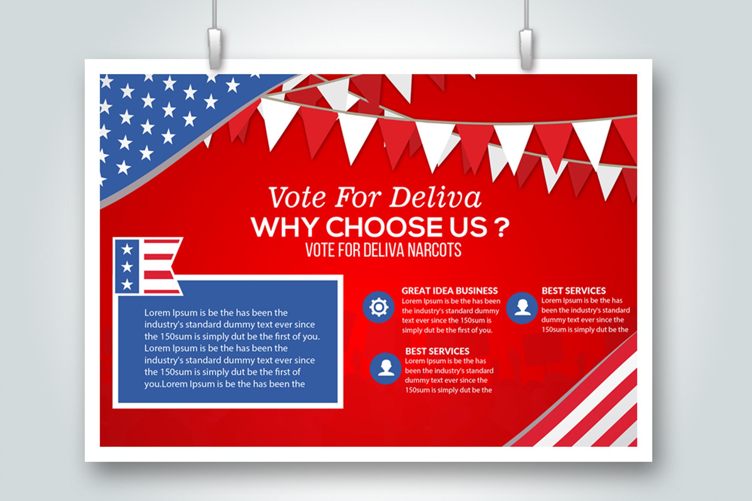 4 Horizontal Election Voting Flyers Bundle example image 4