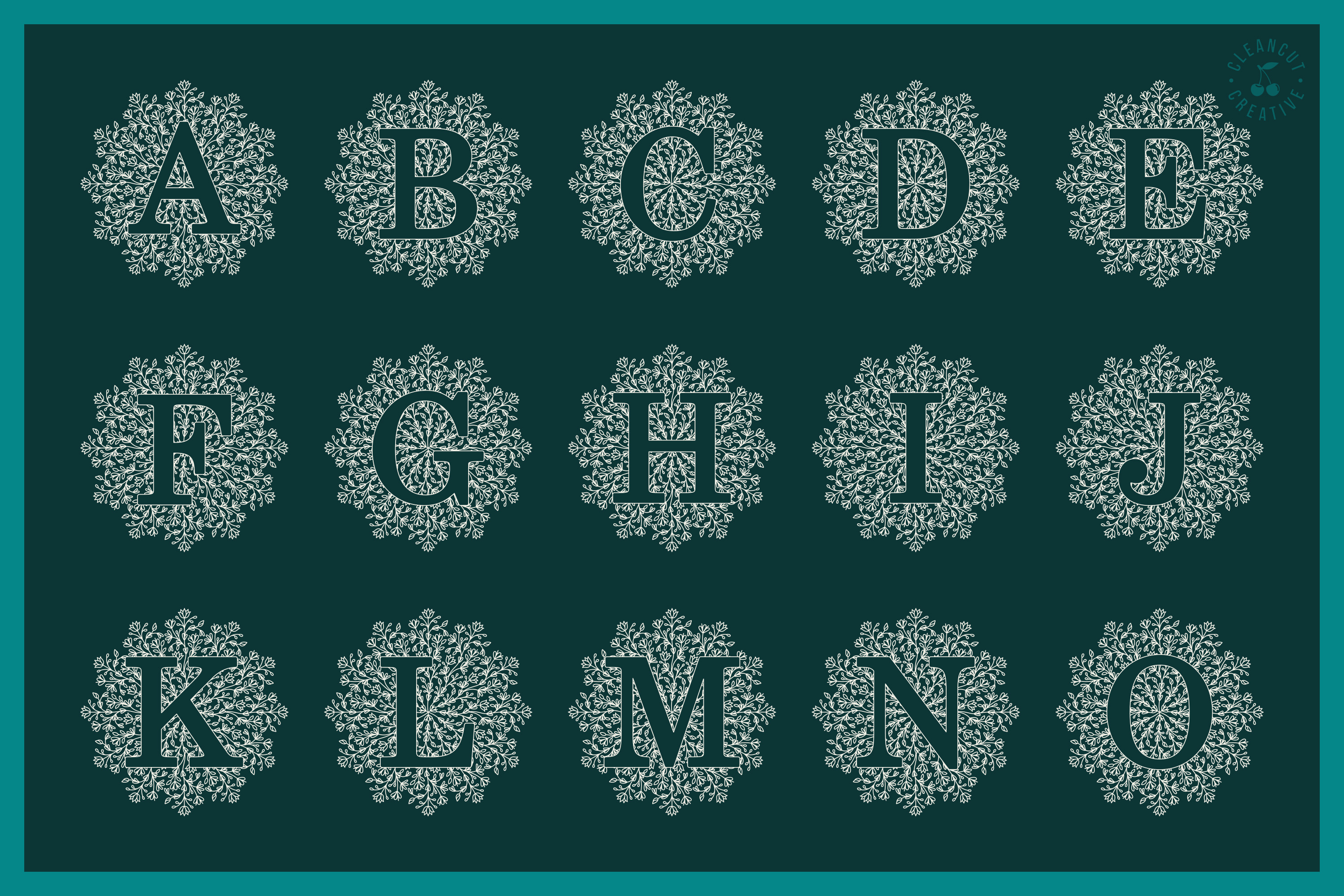 Intricate Mandala Monogram Alphabet in SVG DXF FCM EPS PNG example image 3