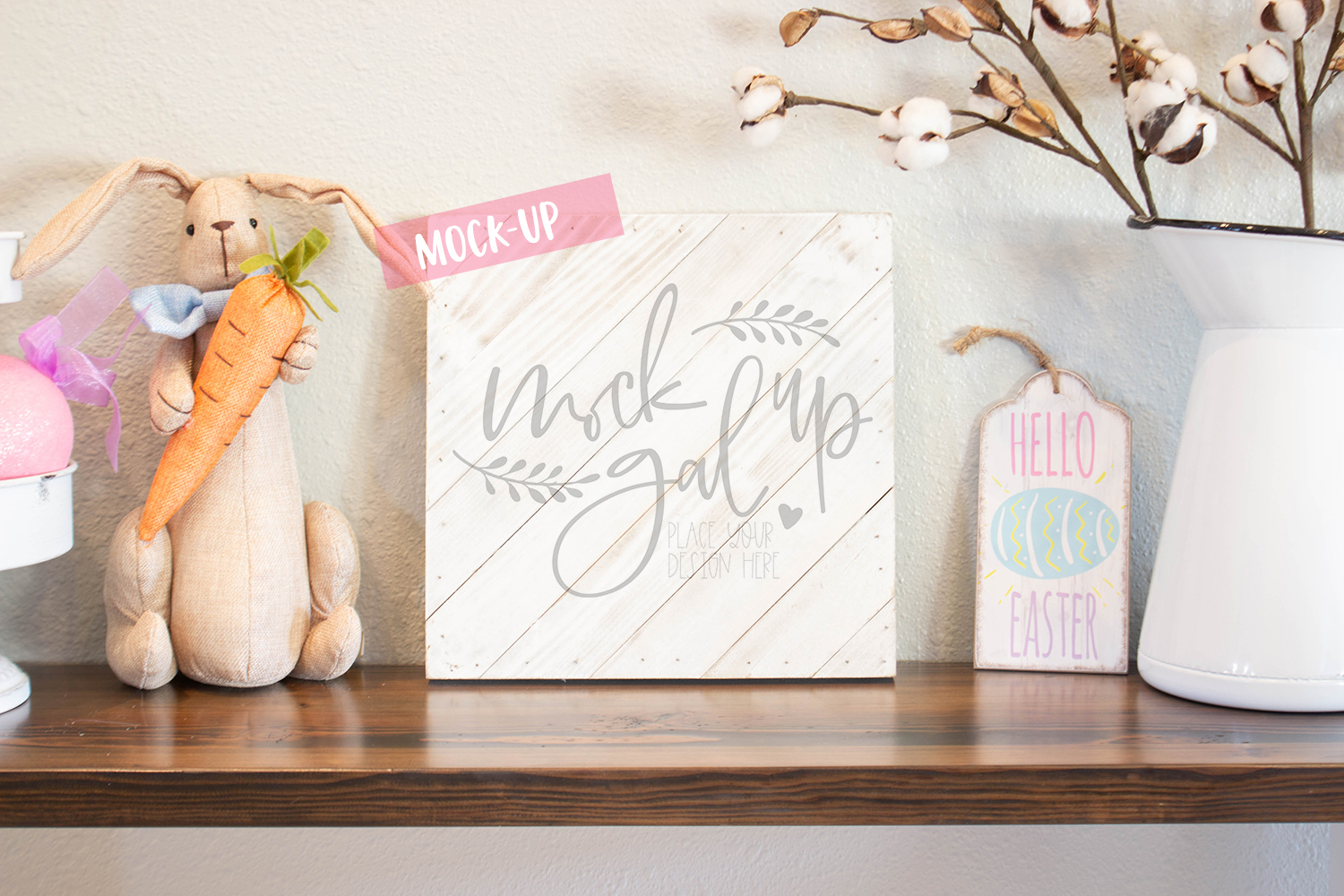 Easter Sign Mock Up - White Sign - Spring Mockup - Farmhouse example image 1