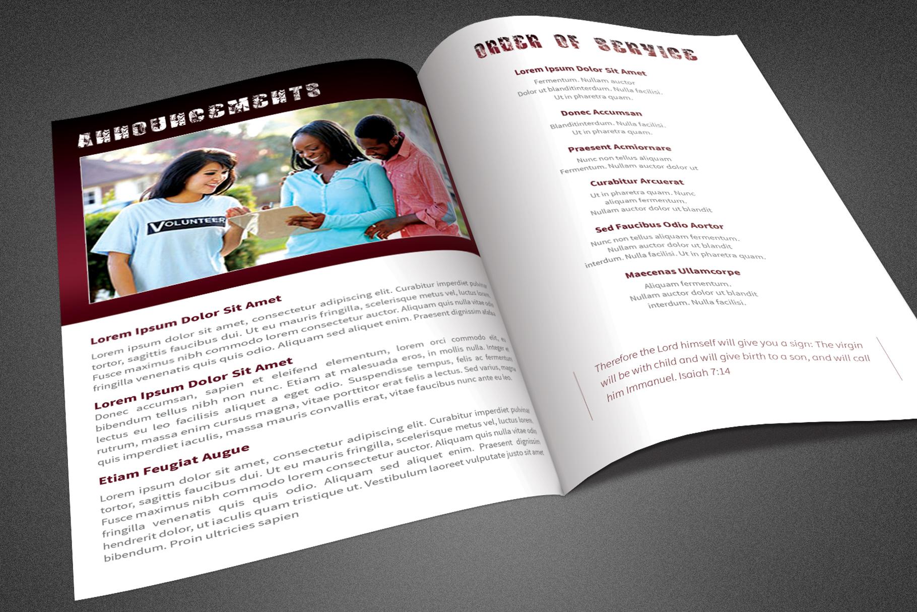 Break Free Church Bulletin Template example image 3