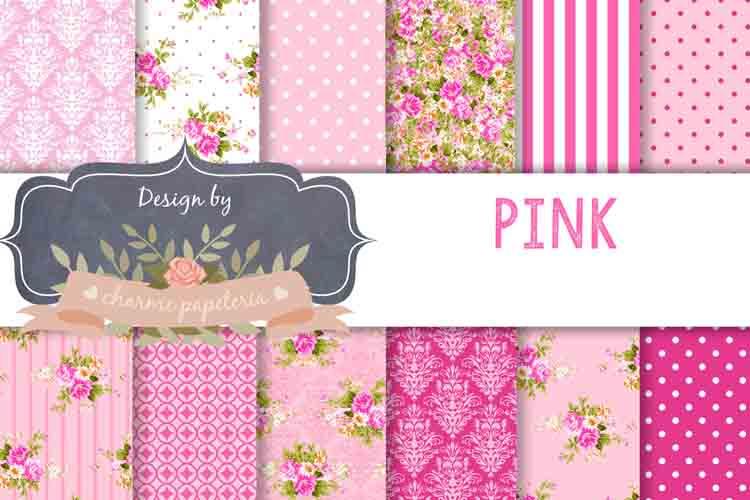 Pink floral Digital Paper Wedding Background example image 1