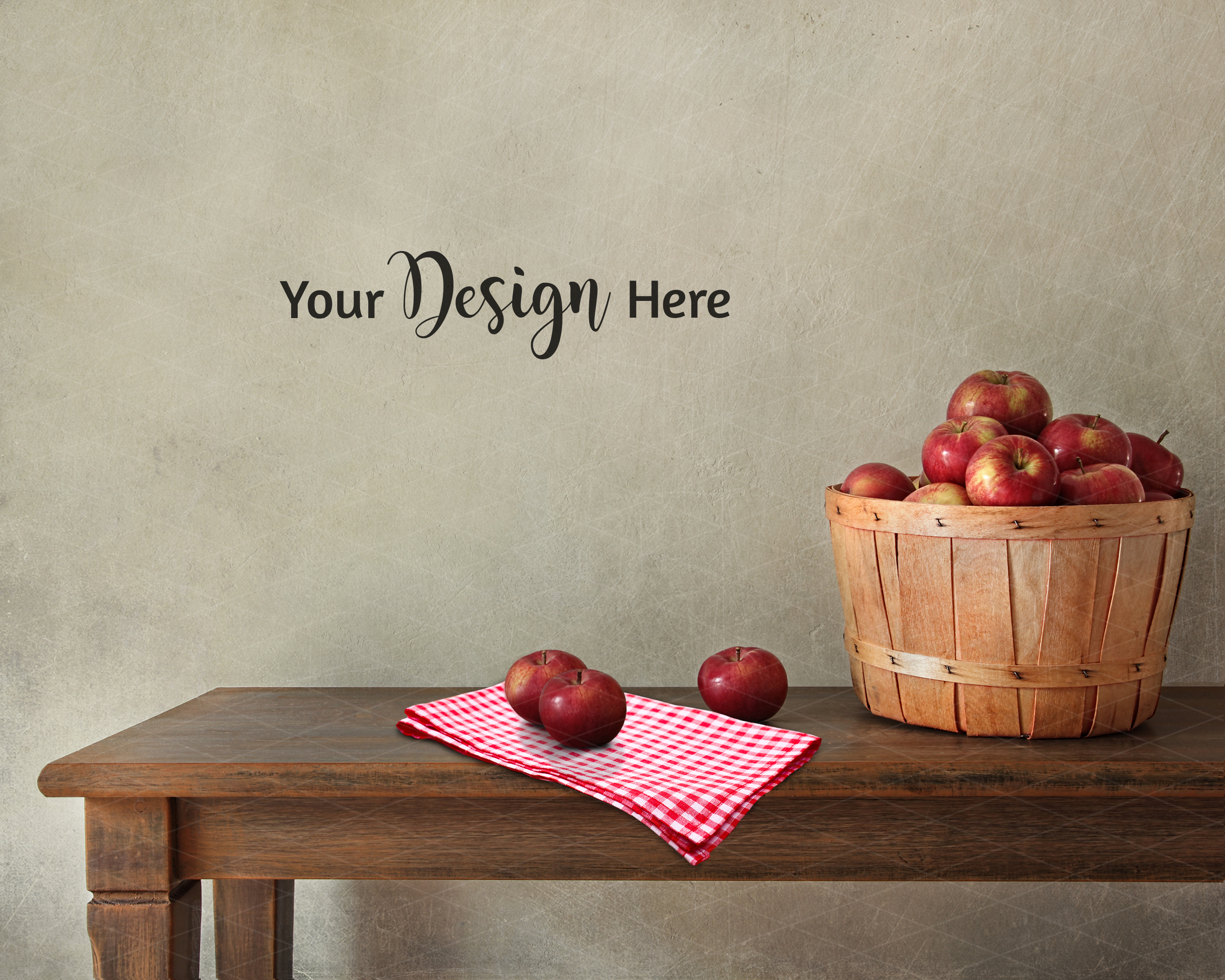 Farmhouse Blank Wall Mockup, Rustic Table Apples 3.2 example image 3