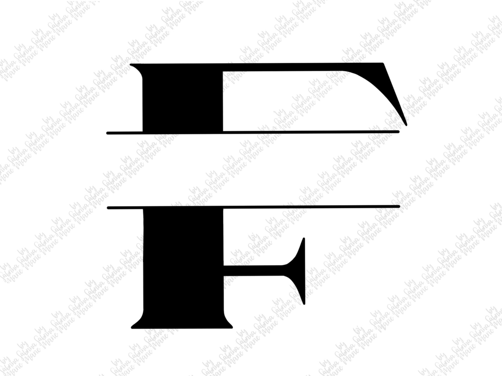 Split Monogram F - Handdrawn - SVG/PNG example image 2