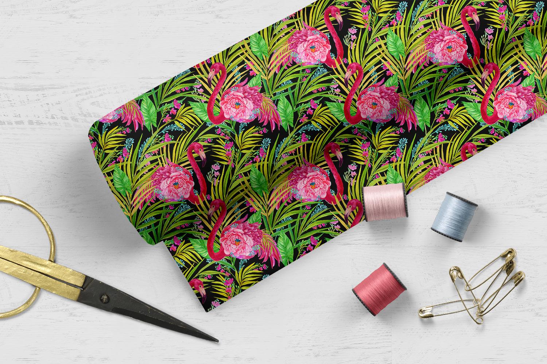 Flamingo.Seamless patterns, example image 3