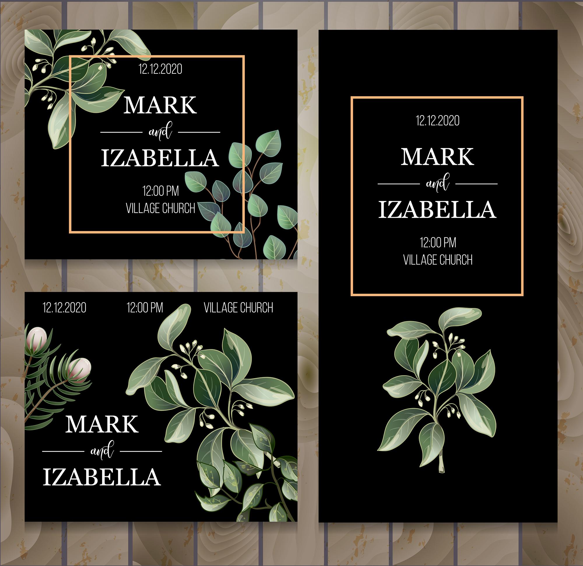 Wedding greenery invitation, patterns and isolated elements example image 5