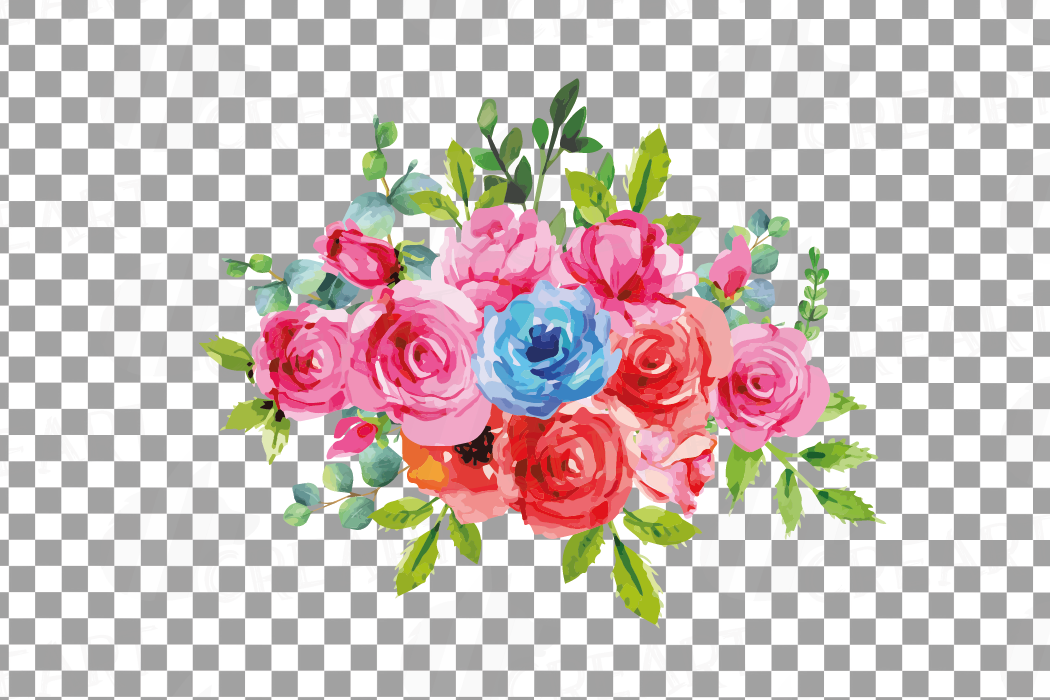 Boho pink and blue watercolor wedding bouquets, floral png example image 15