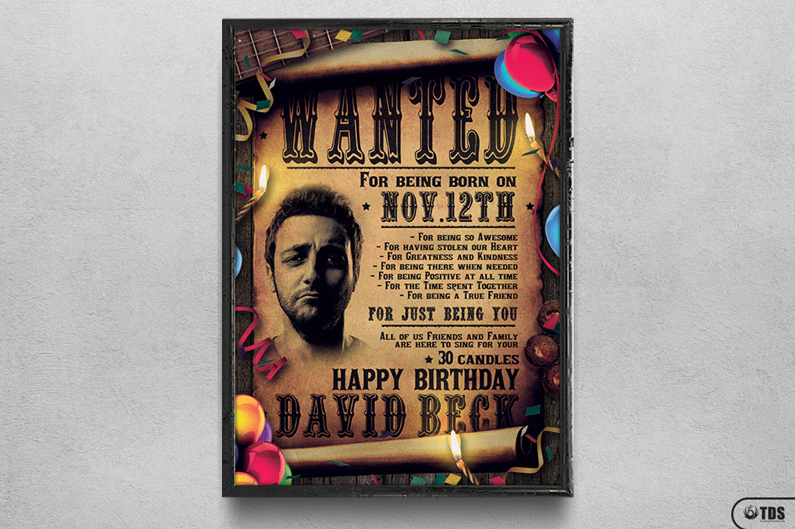 Wanted Birthday Party Flyer Template example image 6