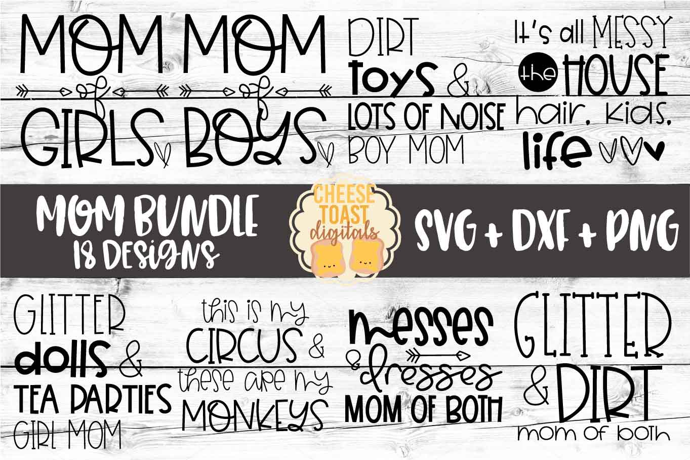 Mom Bundle - 18 Designs SVG PNG DXF Cut Files example image 1