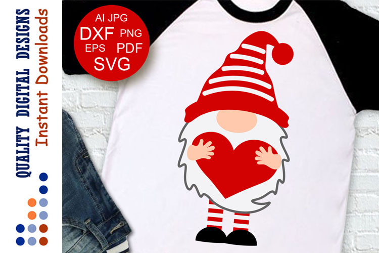 Red Gnome clipart Valentine shirt Love example image 1