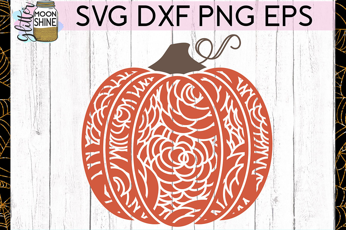 Floral Pattern Pumpkin SVG DXF PNG EPS Cutting Files example image 1