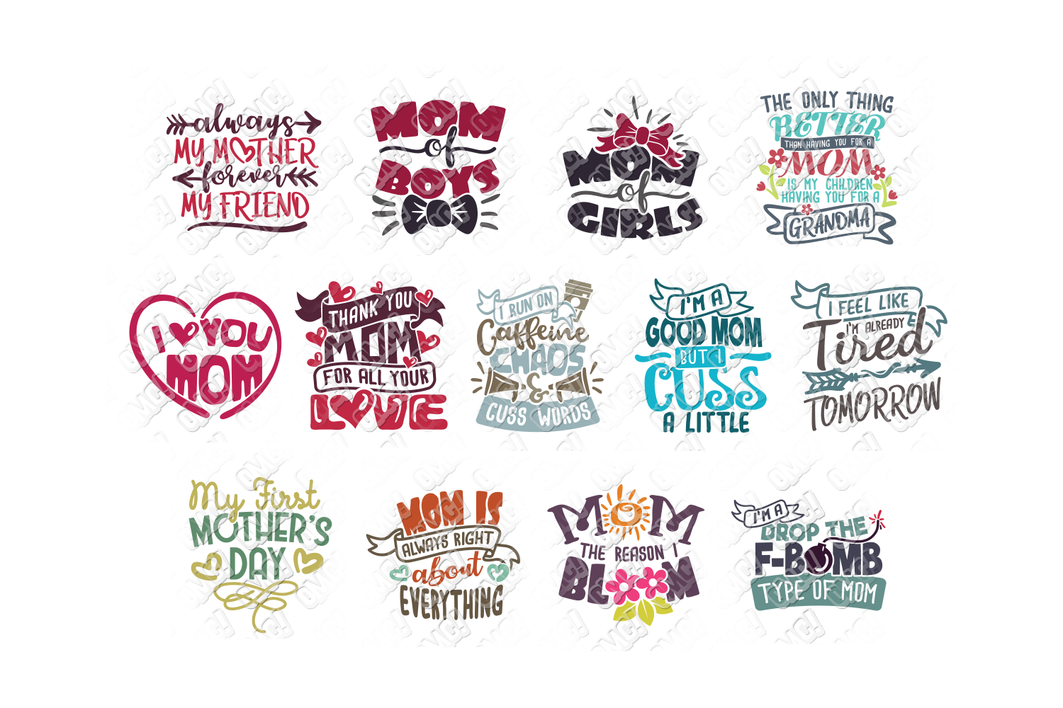 Mothers Day SVG Bundle Quotes in SVG, DXF, PNG, EPS, JPEG example image 5