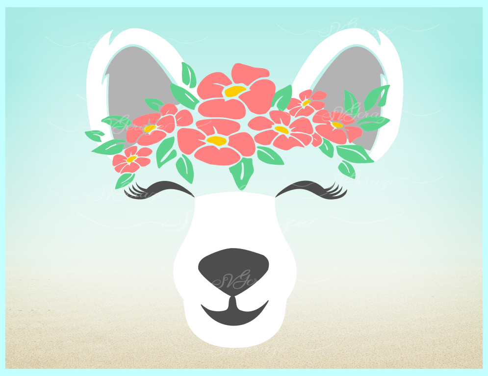 Polar Bear Face With Flowers Svg Dxf Eps Png Svg Files example image 2