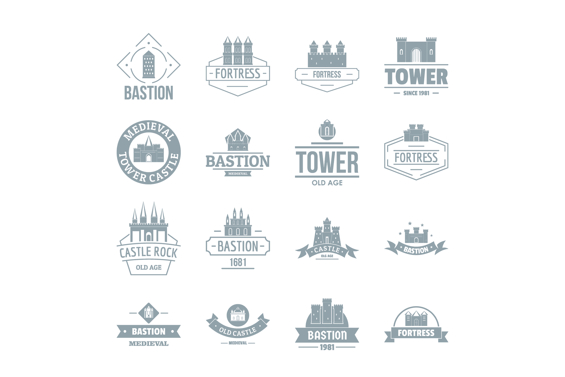 Towers castles logo icons set, simple style example image 1
