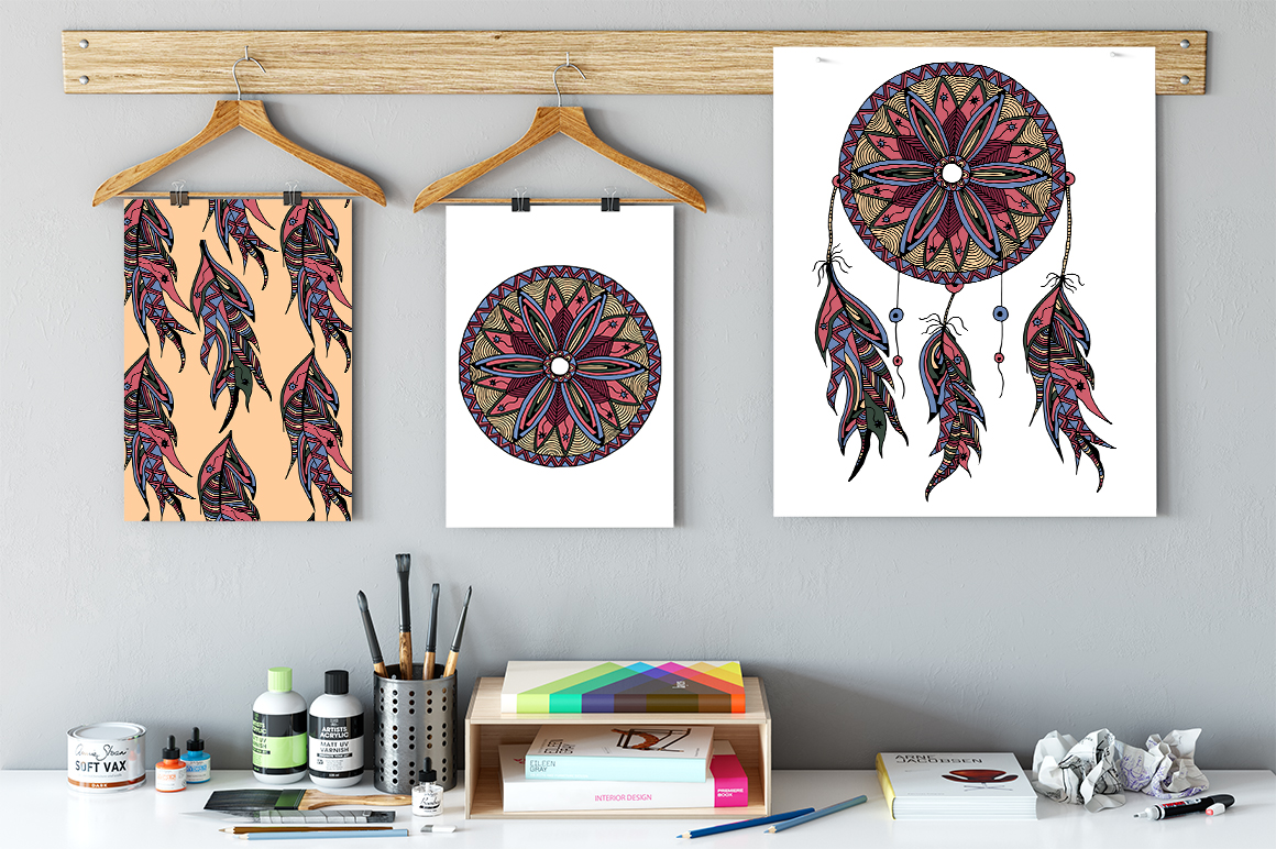Dreamcatcher illustration and pattern example image 6