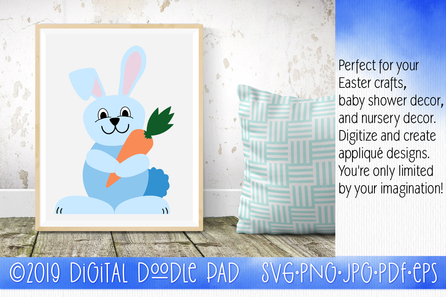 Easter Bunny Rabbit SVG by Digital Doodle Pad example image 2