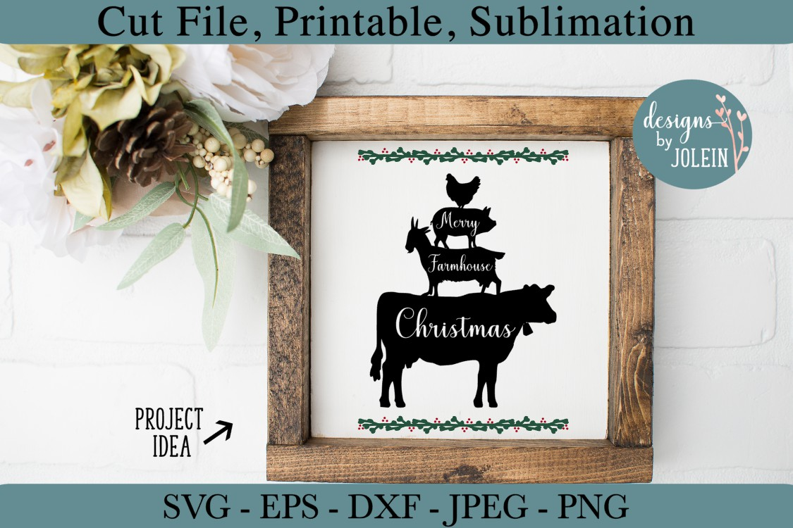 Merry Farmhouse Christmas SVG, png, eps, DXF, sublimation example image 2
