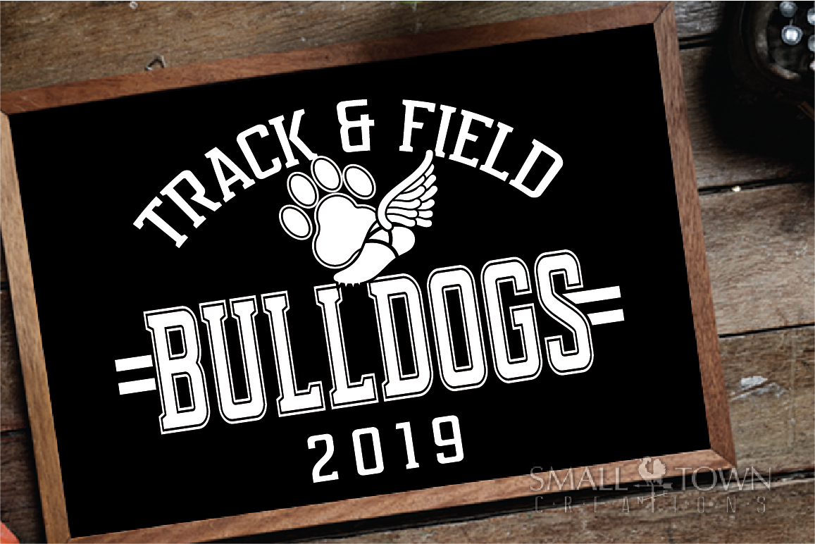 Bulldogs Track and Field, bulldog mascot, PRINT, CUT, DESIGN example image 3
