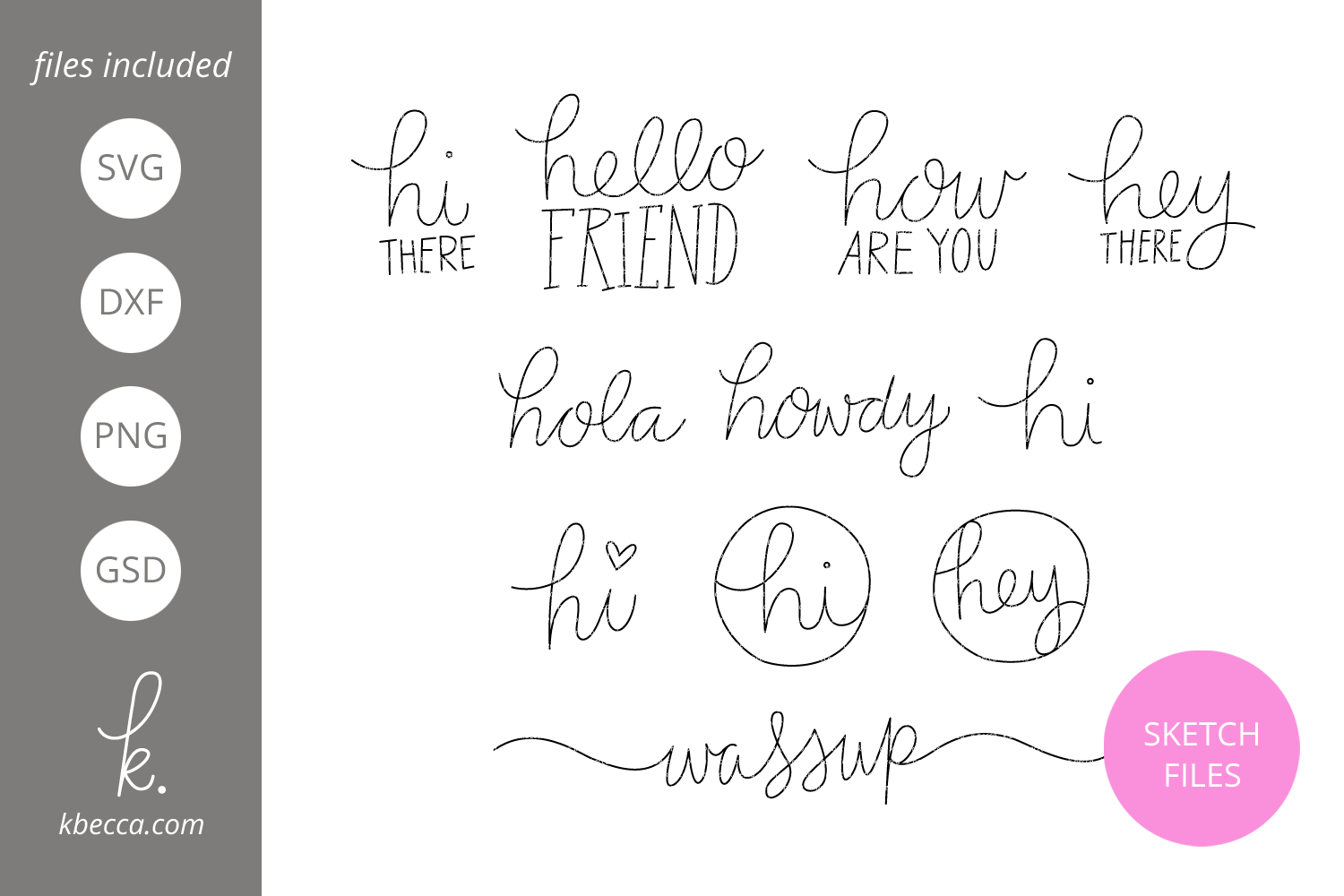 Foil Quill Sketch Hello Sentiments SVG File example image 1