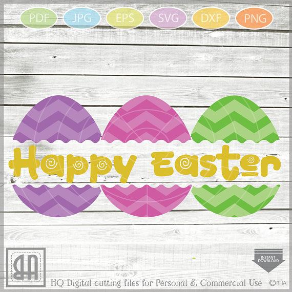 Easter Eggs monogram SVG, Split Easter Eggs, Egg Cut file example image 3
