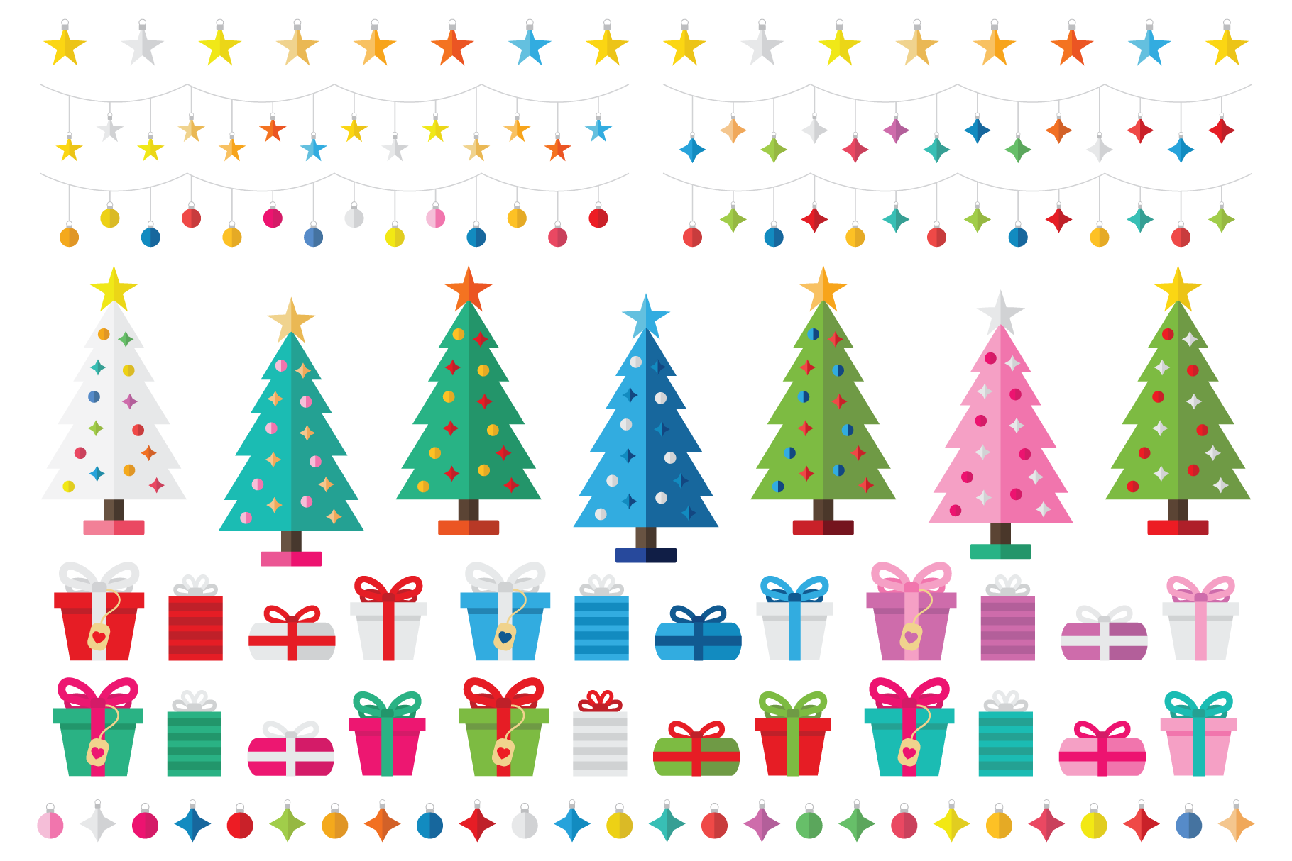 Colorful Christmas Tree Party Clip Art Set example image 2