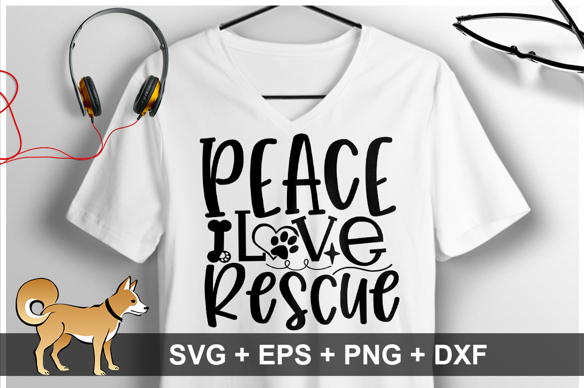 Peace Love Rescue SVG Design example image 1