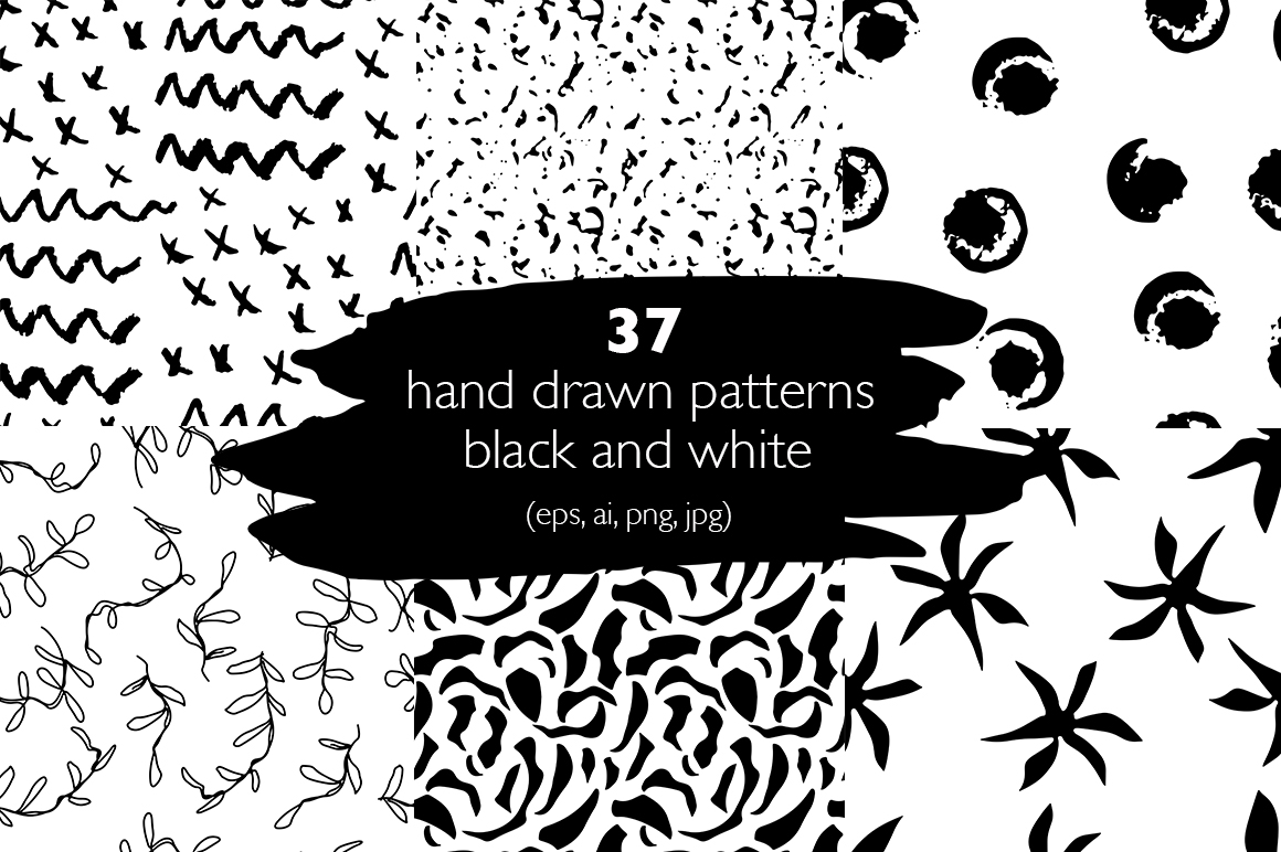 37 monochrome patterns. Hand drawn seamless backgrounds. example image 1
