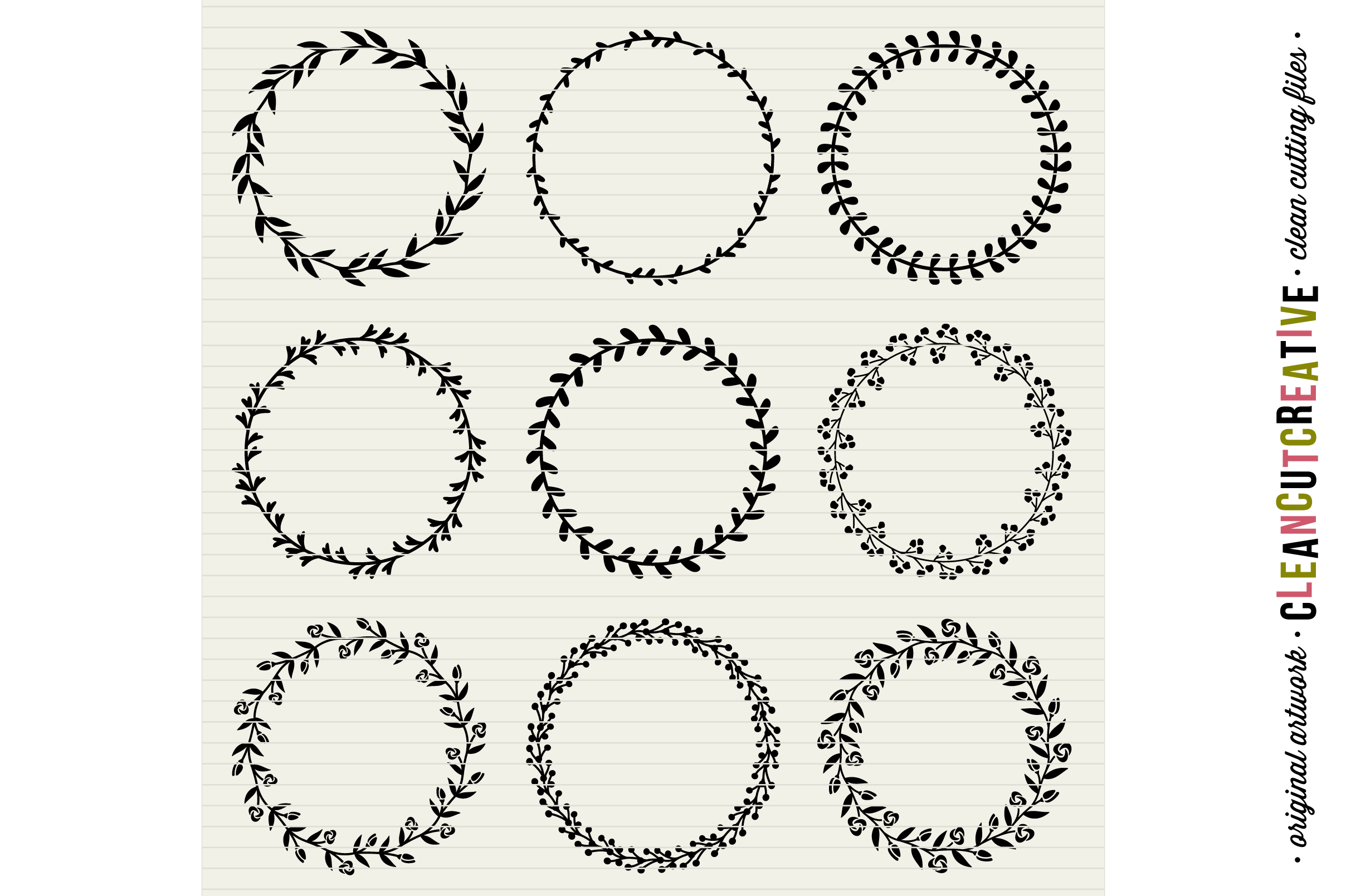 FLORAL MEGA BUNDLE 30 wreaths, laurels and hearts leaf frames - SVG DXF EPS PNG - for Cricut and Silhouette Cameo - clean cutting digital files example image 3