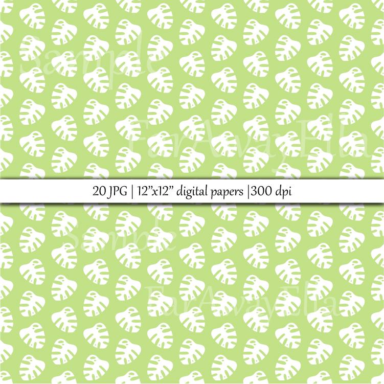 Monstera leaf JPG digital paper | 20 seamless backgrounds example image 2