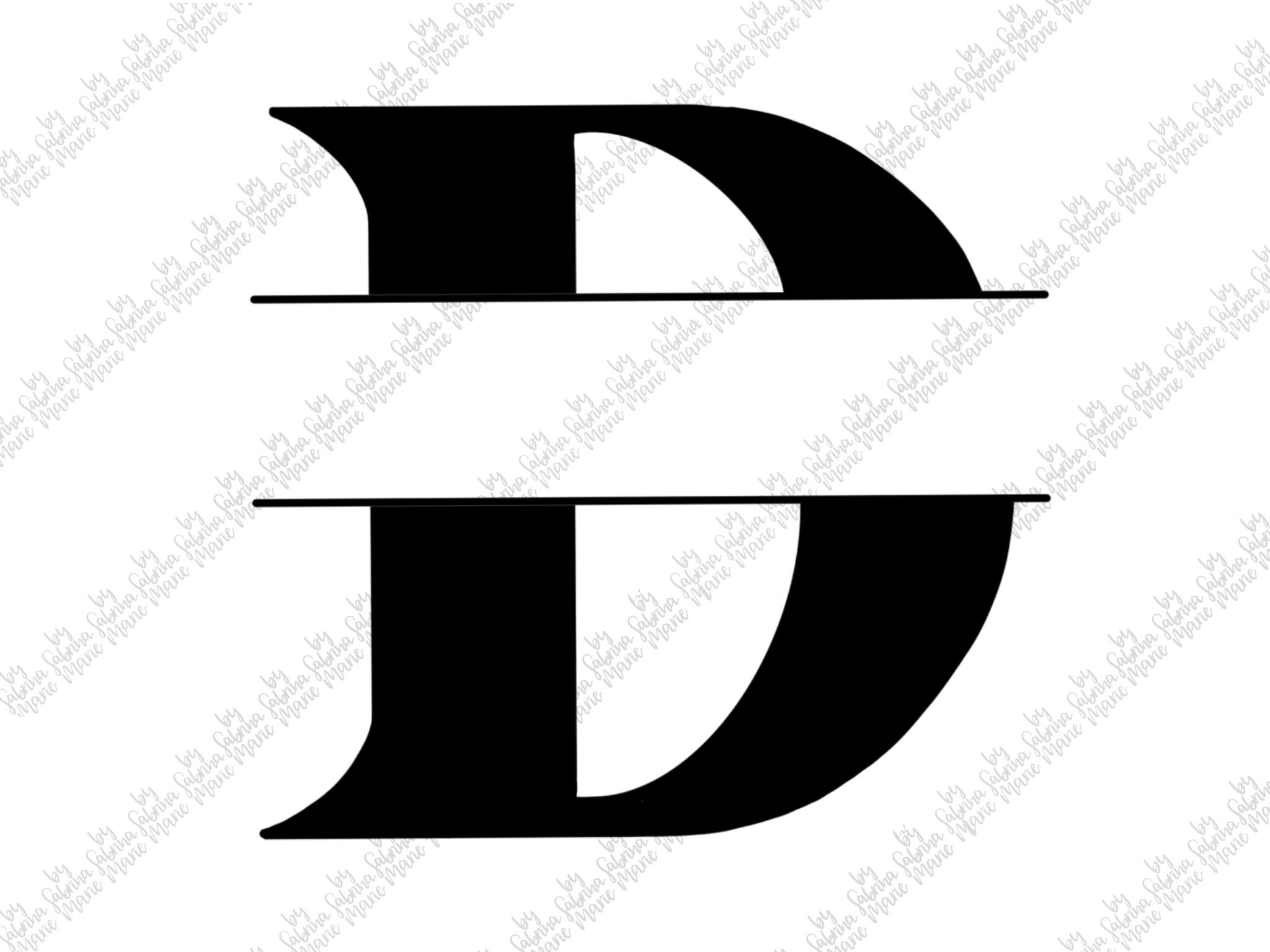 Split Monogram D - Handdrawn - SVG/PNG example image 2