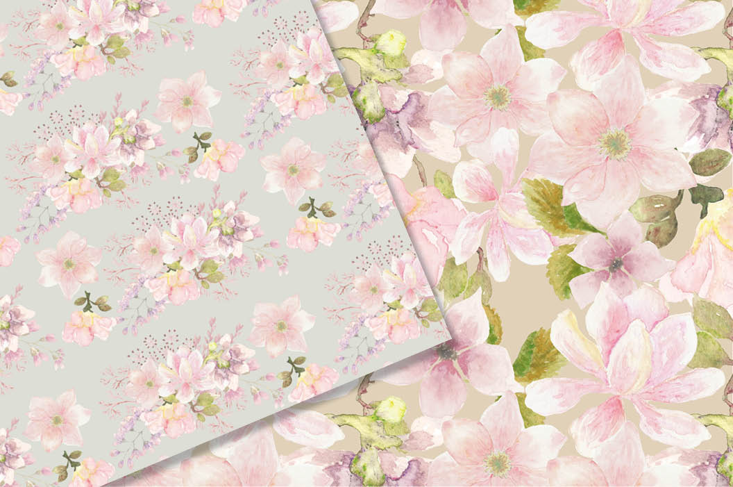 Watercolor patterns: blush Magnolias example image 2