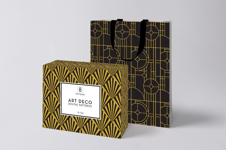 8 Seamless Art Deco Patterns - Black & Gold Set 2 example image 2