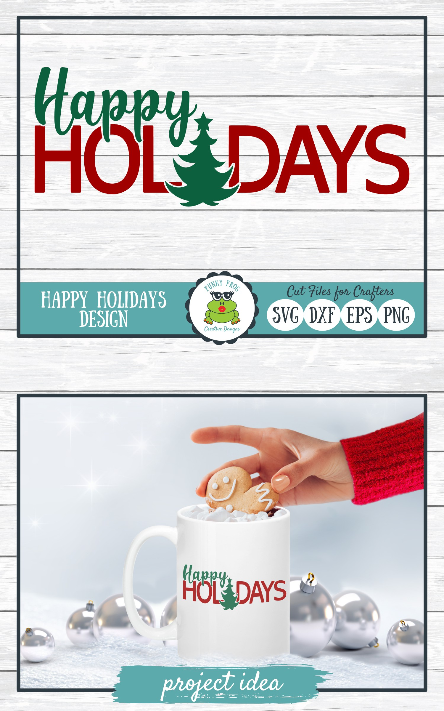 Happy Holidays, Christmas Winter Holiday SVG Cut File example image 4
