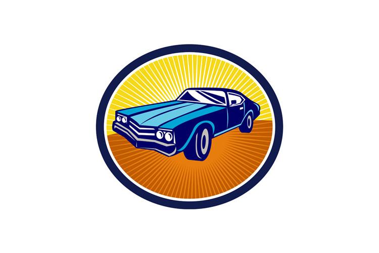 American Vintage Muscle Car Rear Retro example image 1