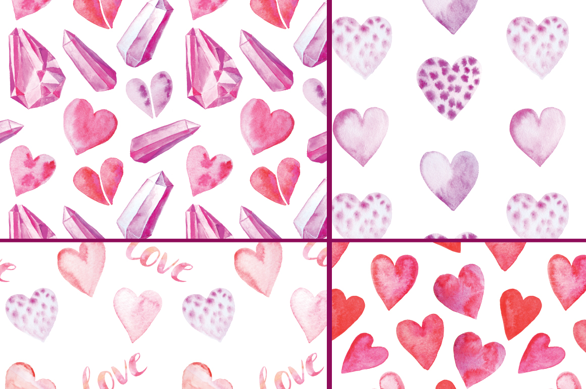 12 Watercolor Valentines Patterns example image 2