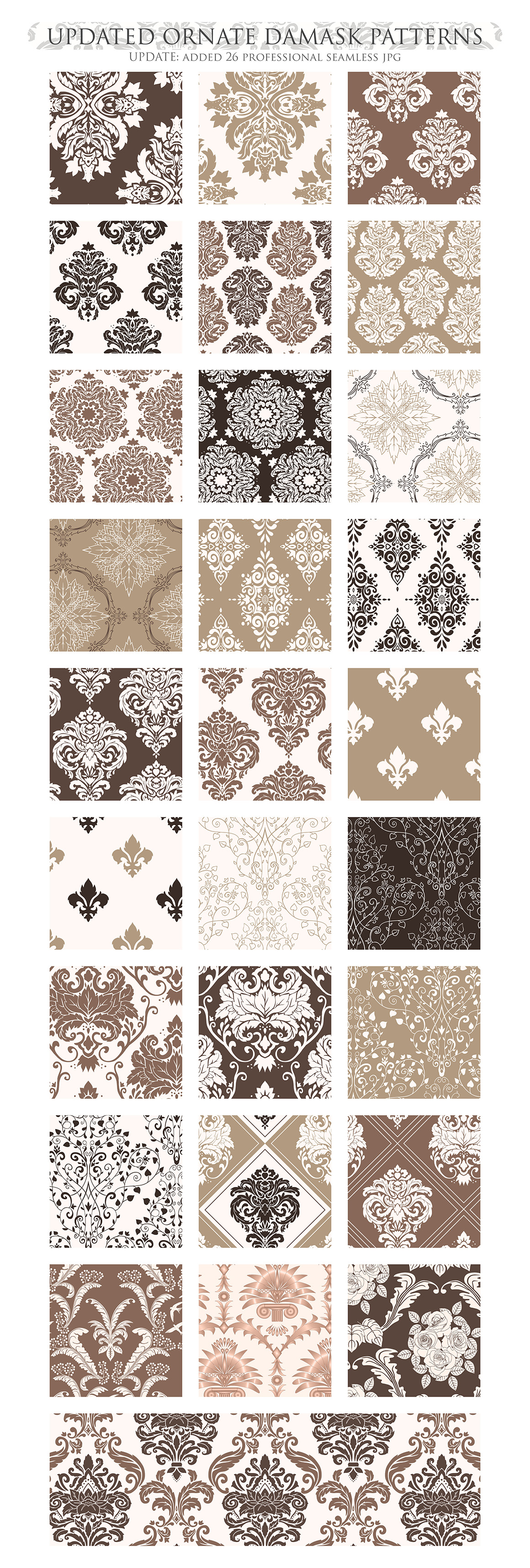 Brown Damask Patterns - Seamless Digital Papers example image 3