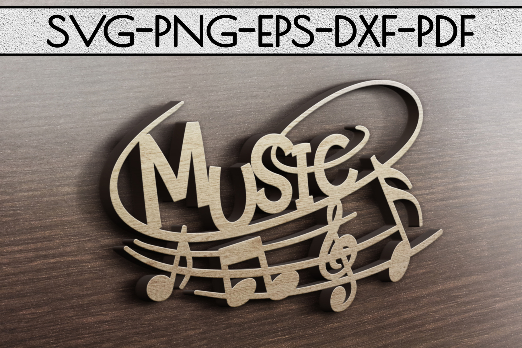 Music Sign Papercut Template, Treble Clef, Musical SVG, DXF example image 3