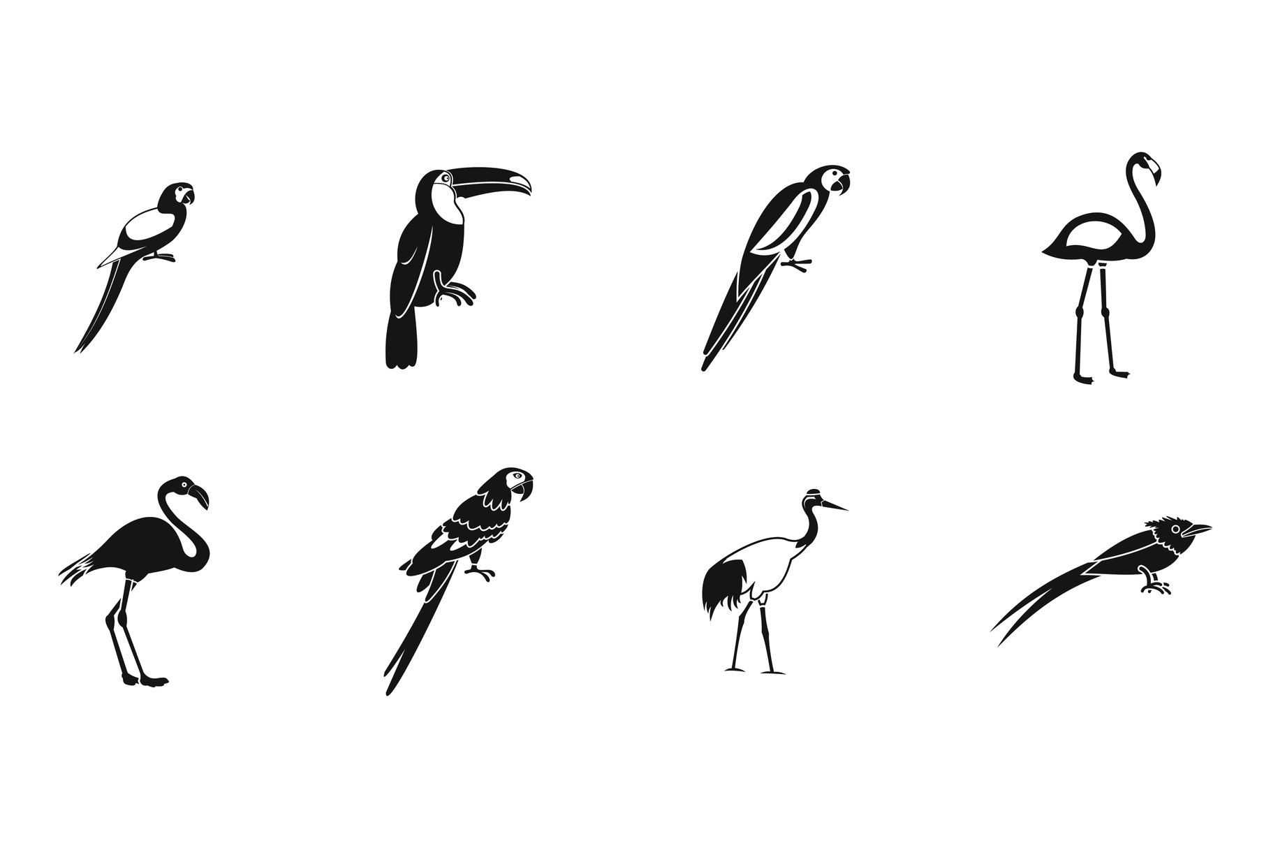 Exotic birds icon set, simple style example image 1