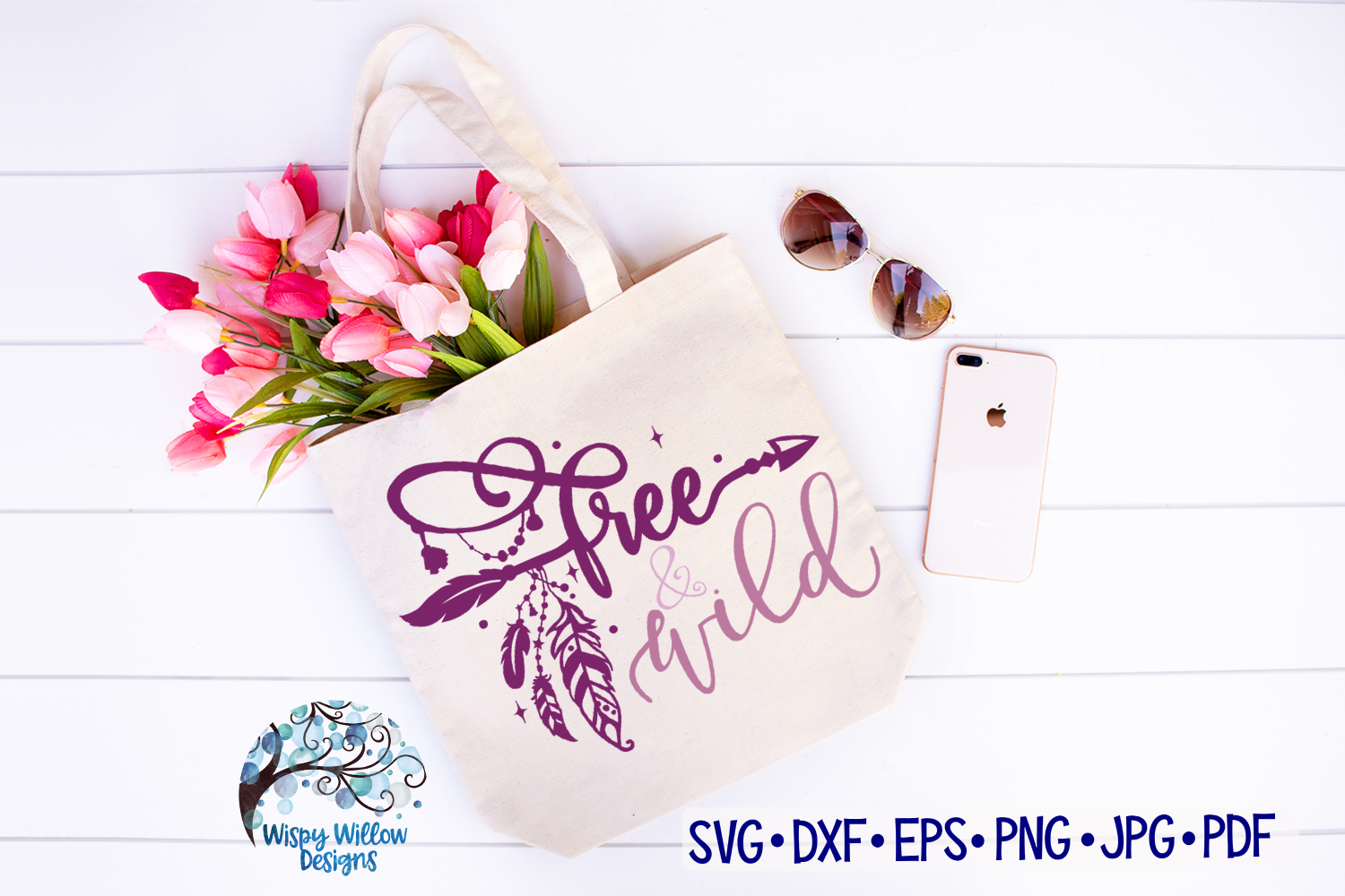 Free and Wild SVG | Boho Feather| Hippie SVG Cut File example image 2