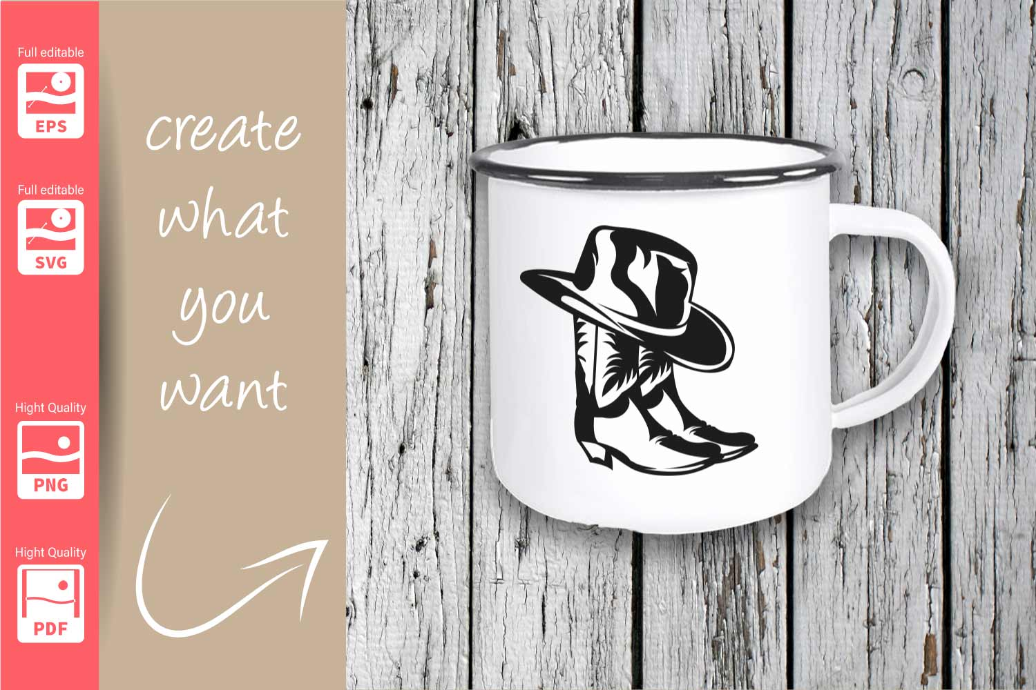Cowgirl Logo with Hat and Boots - SVG - Set example image 2
