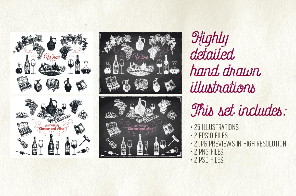 Hand drawn wine illustrations example image 2